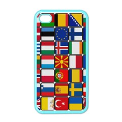 Europe Flag Star Button Blue Apple iPhone 4 Case (Color)