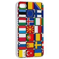 Europe Flag Star Button Blue Apple iPhone 4/4s Seamless Case (White)