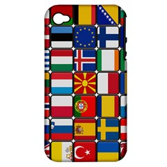 Europe Flag Star Button Blue Apple iPhone 4/4S Hardshell Case (PC+Silicone)