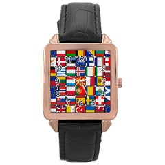 Europe Flag Star Button Blue Rose Gold Leather Watch
