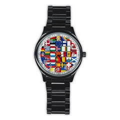 Europe Flag Star Button Blue Stainless Steel Round Watch