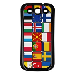 Europe Flag Star Button Blue Samsung Galaxy S3 Back Case (Black)