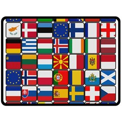 Europe Flag Star Button Blue Double Sided Fleece Blanket (Large)