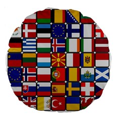 Europe Flag Star Button Blue Large 18  Premium Flano Round Cushions