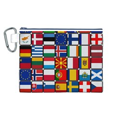 Europe Flag Star Button Blue Canvas Cosmetic Bag (L)