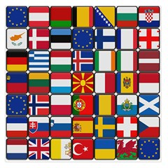 Europe Flag Star Button Blue Large Satin Scarf (square)