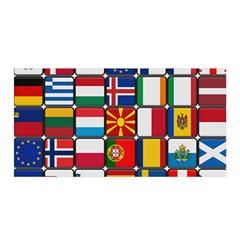 Europe Flag Star Button Blue Satin Wrap
