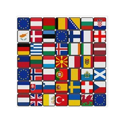 Europe Flag Star Button Blue Small Satin Scarf (Square)