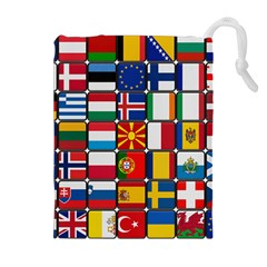 Europe Flag Star Button Blue Drawstring Pouches (Extra Large)