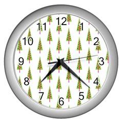 Christmas Tree Wall Clocks (Silver)