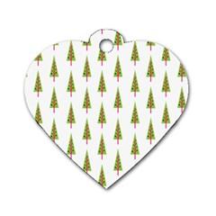 Christmas Tree Dog Tag Heart (One Side)