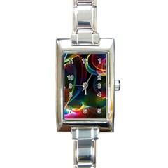 Abstract Rainbow Twirls Rectangle Italian Charm Watch