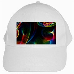 Abstract Rainbow Twirls White Cap