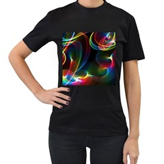 Abstract Rainbow Twirls Women s T-Shirt (Black) (Two Sided)