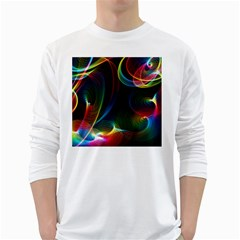 Abstract Rainbow Twirls White Long Sleeve T-Shirts