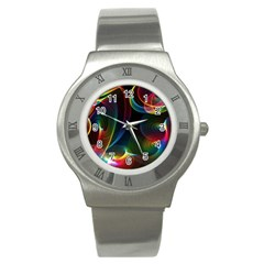 Abstract Rainbow Twirls Stainless Steel Watch