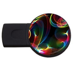 Abstract Rainbow Twirls USB Flash Drive Round (4 GB)