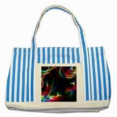 Abstract Rainbow Twirls Striped Blue Tote Bag