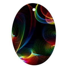 Abstract Rainbow Twirls Oval Ornament (Two Sides)