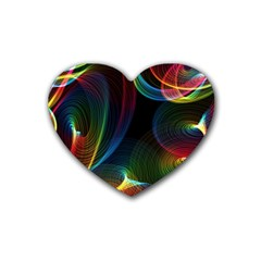 Abstract Rainbow Twirls Heart Coaster (4 pack)