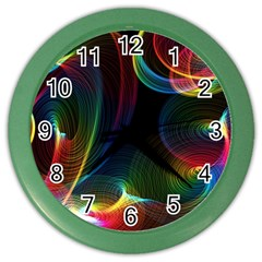 Abstract Rainbow Twirls Color Wall Clocks