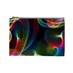 Abstract Rainbow Twirls Cosmetic Bag (Large)