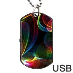 Abstract Rainbow Twirls Dog Tag USB Flash (One Side)