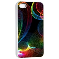 Abstract Rainbow Twirls Apple iPhone 4/4s Seamless Case (White)