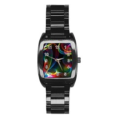 Abstract Rainbow Twirls Stainless Steel Barrel Watch