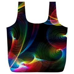 Abstract Rainbow Twirls Full Print Recycle Bags (L)