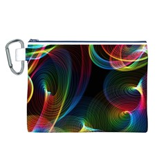 Abstract Rainbow Twirls Canvas Cosmetic Bag (l)
