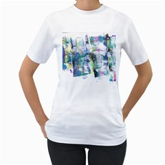 Background Color Circle Pattern Women s T-Shirt (White) (Two Sided)