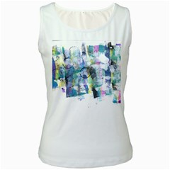 Background Color Circle Pattern Women s White Tank Top