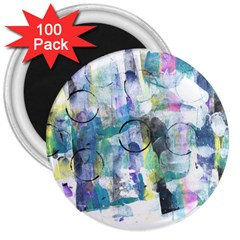 Background Color Circle Pattern 3  Magnets (100 pack)