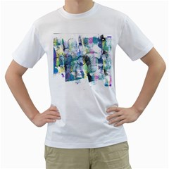 Background Color Circle Pattern Men s T-Shirt (White) (Two Sided)