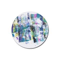 Background Color Circle Pattern Rubber Coaster (Round)