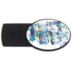 Background Color Circle Pattern USB Flash Drive Oval (1 GB)