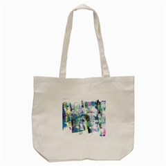 Background Color Circle Pattern Tote Bag (cream)