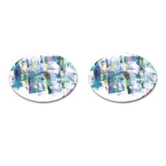 Background Color Circle Pattern Cufflinks (Oval)