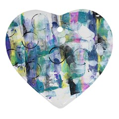 Background Color Circle Pattern Heart Ornament (Two Sides)