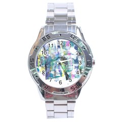 Background Color Circle Pattern Stainless Steel Analogue Watch