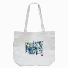 Background Color Circle Pattern Tote Bag (White)