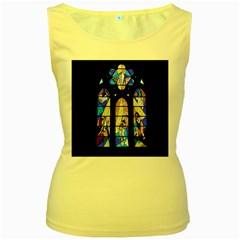 Art Church Window Women s Yellow Tank Top