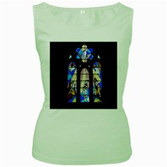 Art Church Window Women s Green Tank Top