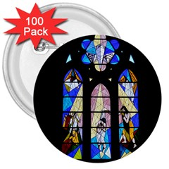 Art Church Window 3  Buttons (100 pack)