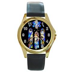 Art Church Window Round Gold Metal Watch
