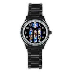 Art Church Window Stainless Steel Round Watch