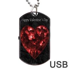 Dark Elegant Valentine Day Poster Dog Tag USB Flash (Two Sides)