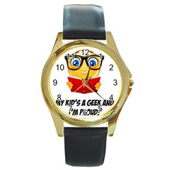 Geek Kid Round Gold Metal Watch
