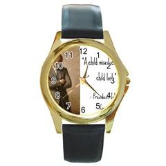 A Child is Miseducated... Round Gold Metal Watch